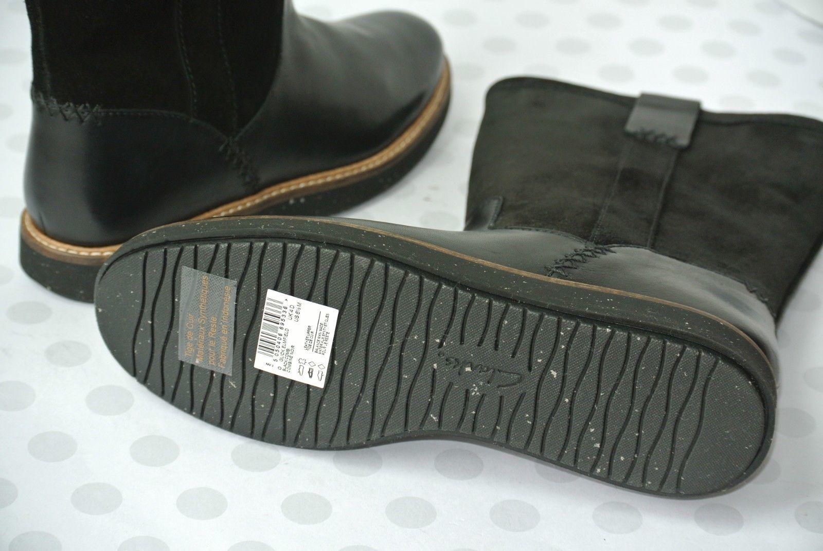 NEW Clarks Glick Elmfield Womens Sz 7.5 M Black Leather Mid Calf Boots $180