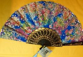 Folding Oriental Hand Fan Blue Floral Fabric Gold Design - $8.86