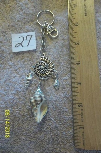 # purse jewelry silver color  shell keychain backpack filigree dangle charm #27 image 5