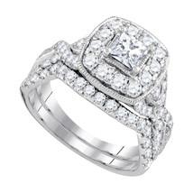 14k White Gold Princess Diamond Bridal Wedding Engagement Ring Set 2.00 Ctw - $3,599.00