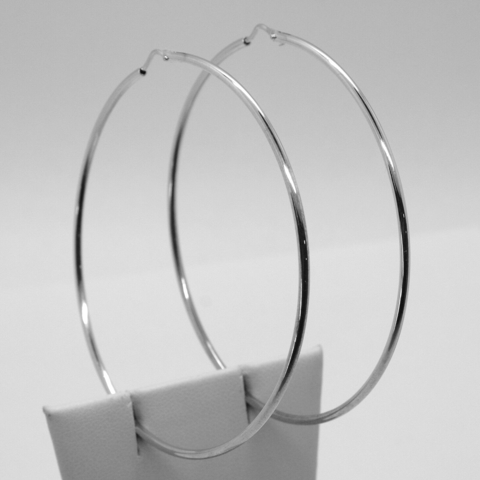 18K WHITE GOLD ROUND CIRCLE EARRINGS DIAMETER 60 MM WIDTH 1.7 MM, MADE IN ITALY