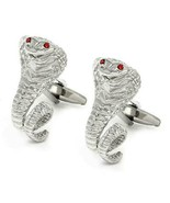 COBRA CUFFLINKS Silver Snake Red Crystal Eyes NEW w GIFT BAG Wedding Gro... - $9.95