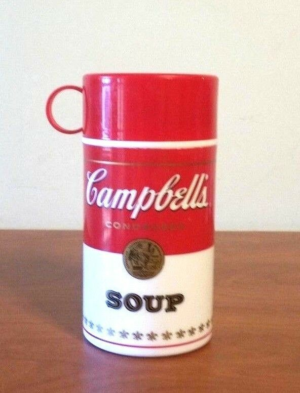 """Vintage Campbell's Soup Thermos 1998 7"""" Tall"""
