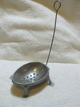 Vintage Metal Tin Egg Shaped footed Strainer Holder Dipper or Tea Strainer - $11.60