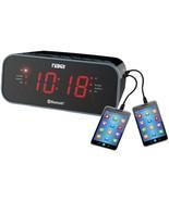 Naxa NRC-182 Bluetooth Dual Alarm Clock Radio with 2 USB Charge Ports - $38.05