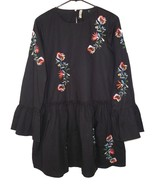 Zara M Medium Black Embroidered Floral Dress Flare Cotton Boho - $26.99