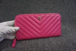 100% AUTH CHANEL Chevron Fuchsia Pink Lambskin Zip Around Wallet Clutch Bag image 8