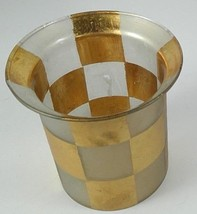 """Zodax candle holder frosted glass gold tone checkerboard pattern 4.25"""" t... - $8.80"""
