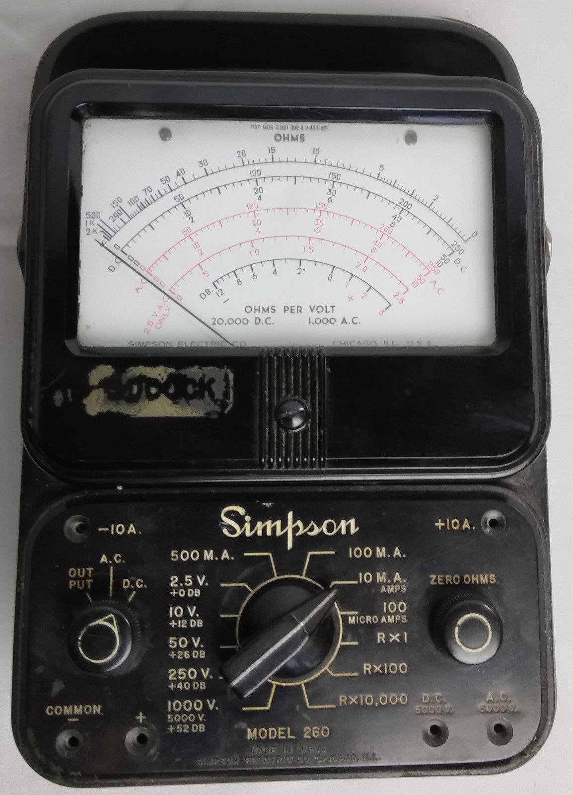 Multimeter Simpson 260 Vintage Overload And 50 Similar Items Digital Kyoritsu 2001 With Clamp Sensor Protection Volt Ohm Measurement Test