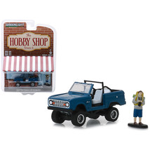 1967 Ford Bronco Dark Blue (Doors Removed) with Backpacker Figure The Ho... - $16.88