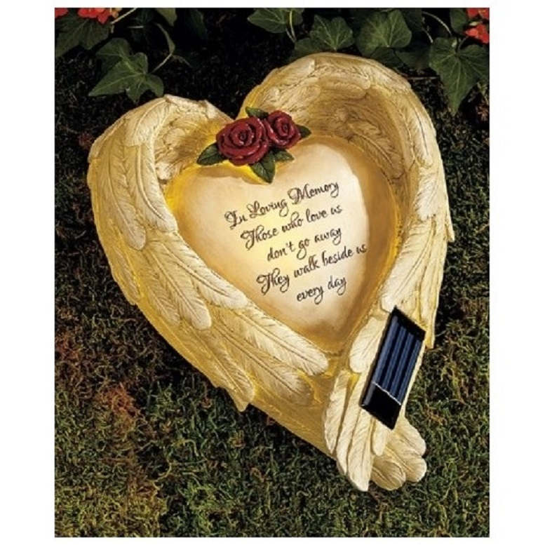 Solar Garden Angel Memorial Wings Outdoor Stone Plaque In Memory of  A Loved One
