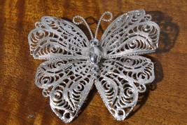 Vtg Monet Costume Silver Tone Filigree Butterfly Brooch Pin - $29.66