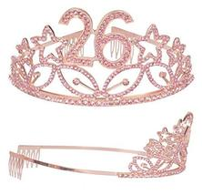 26th Birthday Gifts for Women, 26th Birthday Tiara and Sash Pink, Happy 26th Bir image 3