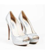 Prada Metallic Silver Glittered Peep Toe Platform Pumps SZ 38.5 - $222.00