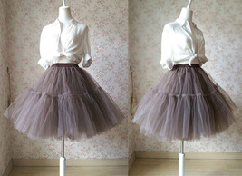 Lady MESH TULLE SKIRT Knee Length Layer Tulle Skirt Princess Skirt Crinolines