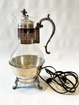 FB Rogers Silver Plate Coffee Carafe Pot electric Warmer Base Glass Tea Vintage - $44.96