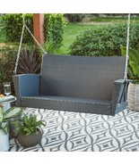 """Modern Brown Resin Wicker 53"""" Porch Swing With Cushion Outdoor Patio Fur... - $274.46"""