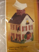 Creative Circle Cottage Boutique Tissue Box Cover Plastic Canvas Needlepoint Kit - $14.95