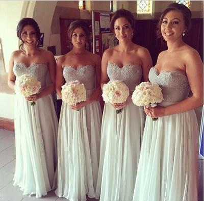 Gray bridesmaid dress,long bridesmaid dress,Sweetheart bridesmaid dresses