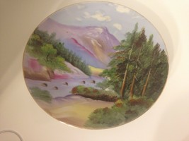 """VINTAGE HAND PAINTED PLATE PURPLE GREEN MOUNTAINS -SIGNED R. Pelu 8.5"""" - $17.77"""