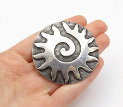 CII MEXICO 925 Silver - Vintage Oxidized Etched Shining Sun Brooch Pin -... - $89.72