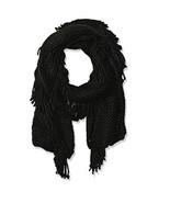 "NWT Steve Madden Black Fringe Benefits Muffler Scarf Knit Fringed 10"" x ... - $12.99"