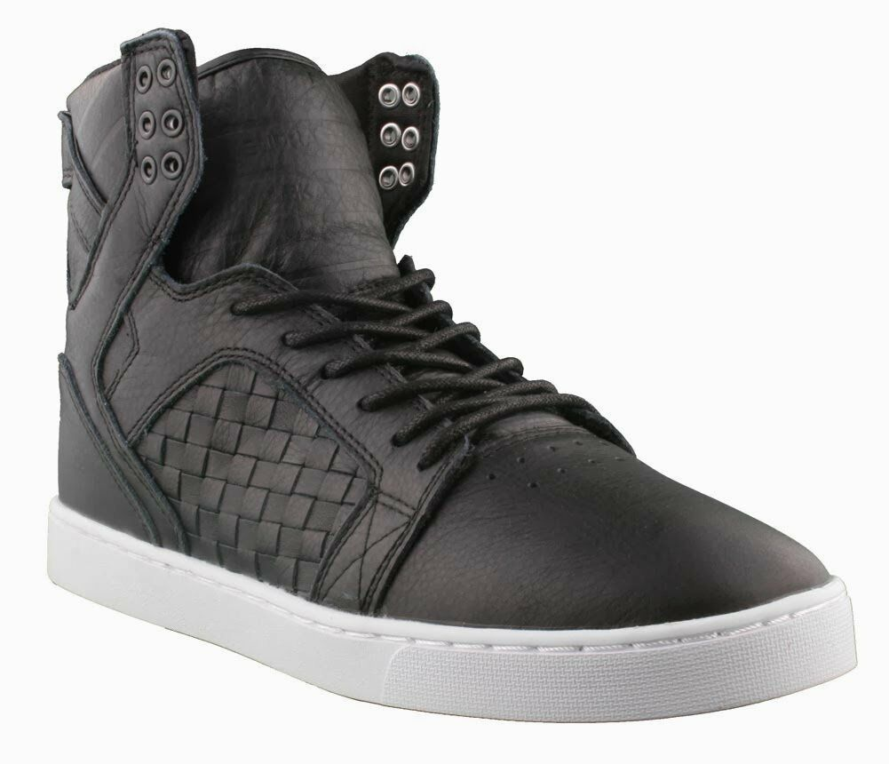 Supra Skytop LX Black Woven Leather White Sole Hi Top Skate Shoes