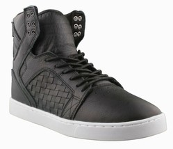 Supra Skytop LX Black Woven Leather White Sole Hi Top Skate Shoes image 1