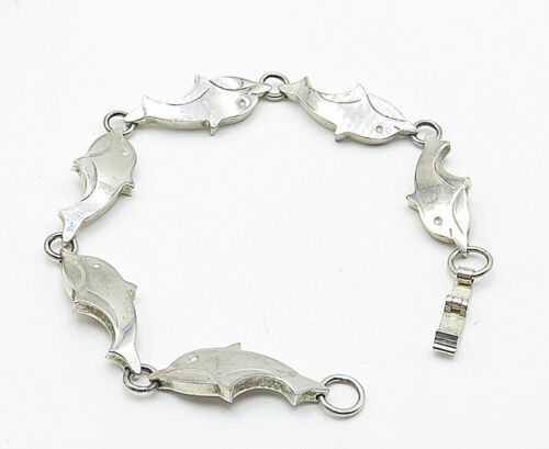 925 Sterling Silver - Vintage Swimming Dolphin Link Chain Bracelet - B4955