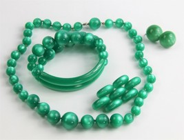 ESTATE VINTAGE Jewelry RARE GREEN MOONGLOW PLASTIC PARURE NECKLACE BRACE... - $65.00