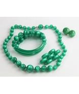 ESTATE VINTAGE Jewelry RARE GREEN MOONGLOW PLASTIC PARURE NECKLACE BRACE... - $65.00