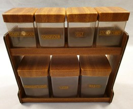 Vintage Caleppio Italian Wall Mounted Spice Rack Canister Rack Faux Teak... - £65.34 GBP