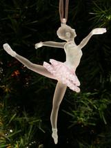 KURT S. ADLER CLEAR & PINK FROSTED ACRYLIC BALLERINA BALLET DANCER XMAS ... - $8.88