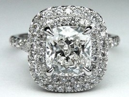 Certified 3.20Ct White Cushion Diamond Halo Engagement Ring in 14K White... - £221.74 GBP