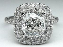 Certified 3.20Ct White Cushion Diamond Halo Engagement Ring in 14K White... - $286.80