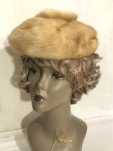 Vintage 1950's Women's Blonde Mink Beret Hat  -Lined-w/ Donut Shaped Top! - $51.43