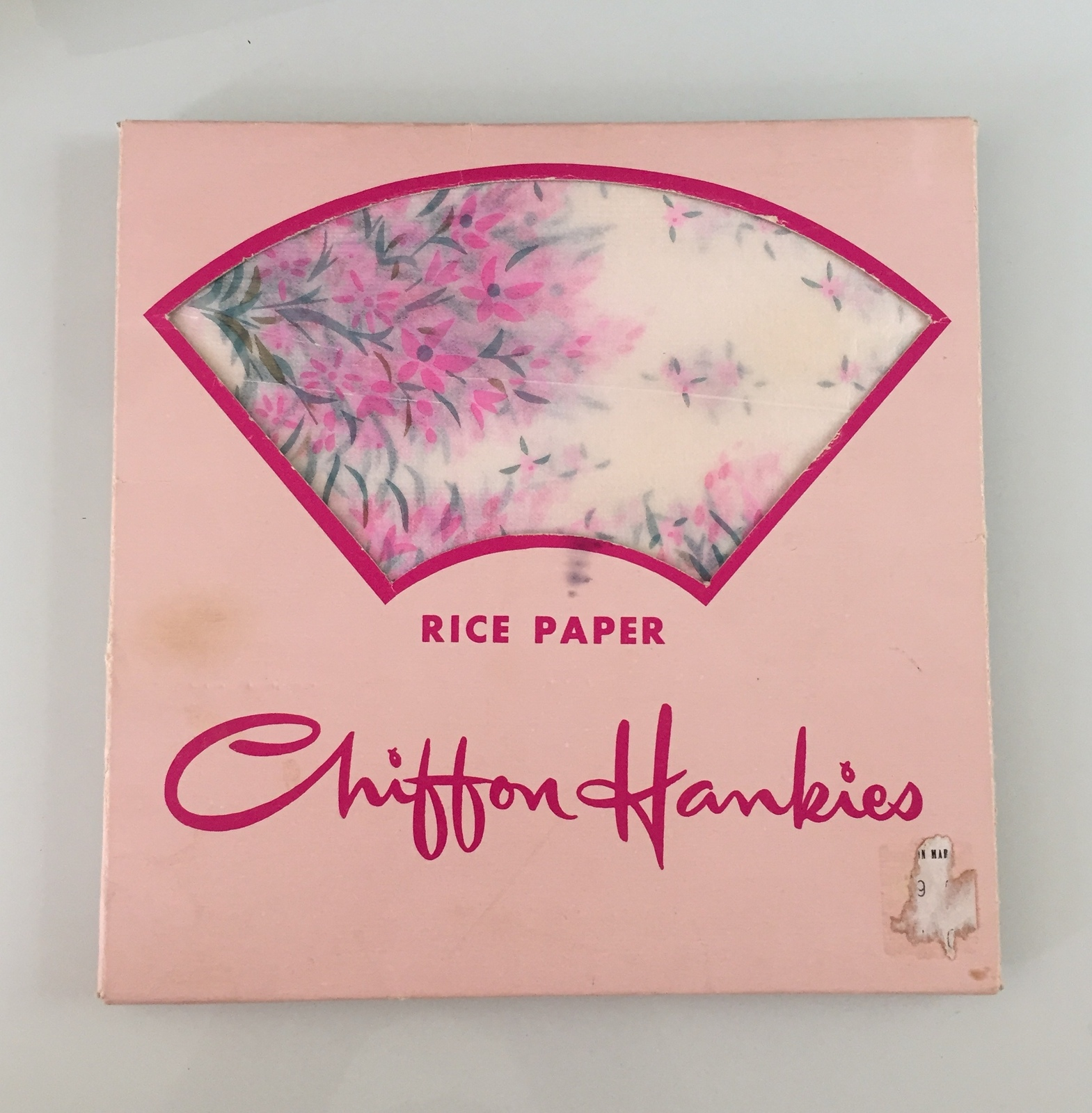 Vintage 50s rice paper chiffon hankies pack by K King (mostly full pack)