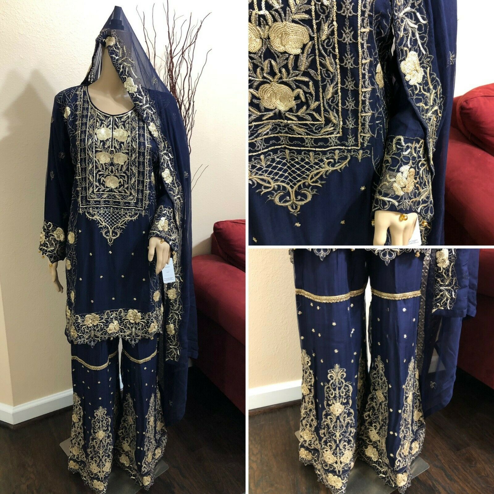 Primary image for Pakistani Chiffon Gharara Siut Embroidery, Fancy Thread work and Sequins, Navy B