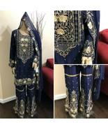 Pakistani Chiffon Gharara Siut Embroidery, Fancy Thread work and Sequins... - $138.11