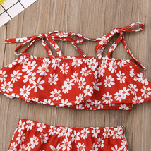 Toddler Baby Girl Clothes Summer 2019 Infant Girl Floral Ruffle Spaghetti Straps image 4