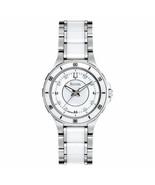 Bulova Women's 98P124 Dress White Diamond Markers Ceramic Stainless Stee... - $194.25