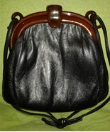 Vintage Small Black Leather Handbag Shoulder Bag Purse Tortoise Acrylic ... - $12.50