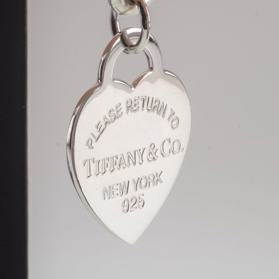 """Tiffany & Co. Plata de Ley """"Retorno a """"Corazón Etiqueta Pulsera Grande Talla W/ image 5"""