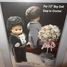 """Groom Tuxedo Outfit Crochet Pattern 13"""" Doll Fibre Craft 1988 FCM154 Wed... - $9.99"""
