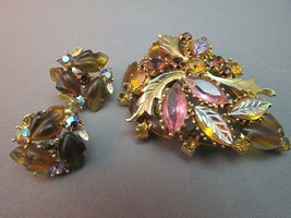 Lot AB Rhinestone Brooch Lisner Earrings Navettes Poured Leaves Fall Col... - $39.59