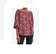$79.5 Lauren Ralph Lauren Floral-Print Off-The-Shoulder Top  Navy Multic... - $51.77