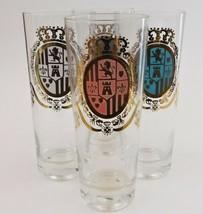 4 Beer Mid Century Modern Pilsner Glasses Coat of Arms Lion Castle  - $39.60