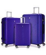 3 Piece Spinner Luggage Set ABS Hardcase Rolling Suitcase Lightweight Bl... - $206.55