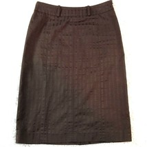 Anne Klein Womens Straight Pencil Skirt 6 Chocolate Brown Pinstripe Belo... - $24.74