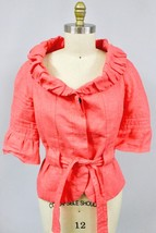 Women's ZARA BASIC Coral  Linen Tie Waist Jacket Size XL Picture Ruched ... - $24.99